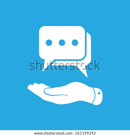 flat hand showing chat icon on a blue background - stock photo