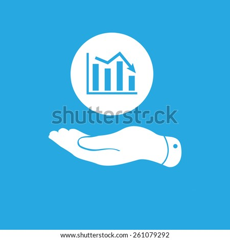 flat hand showing the icon of graph going down - stock photo