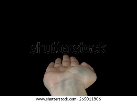 Flat human hand isolated on black background.