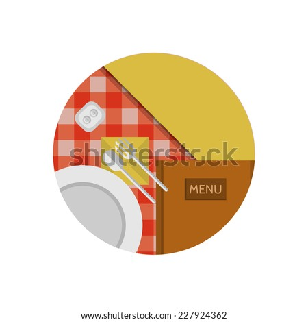 Flat icon for cafe or restaurant. Table setting with white plate and cutlery on the table with checkered red tablecloth a top view. Flat circle colored icon for cafe or restaurant or other catering - stock photo