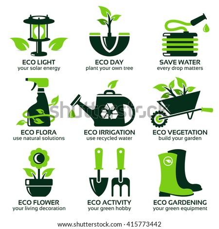 flat icon set for green eco garden - stock photo