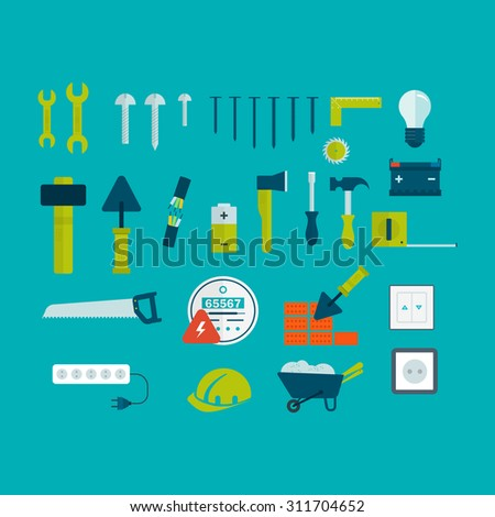 Flat icon tools and materials for the repair and construction - stock photo