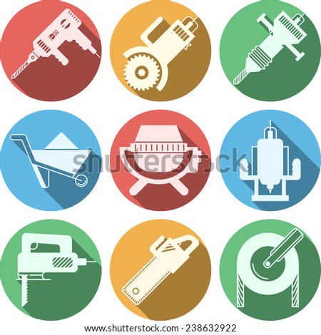 Icons for construction equipment set of colored circle flat icons