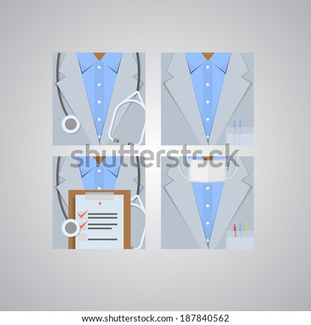 Flat icons for doctor. Four square flat icons for doctor on gray. - stock photo