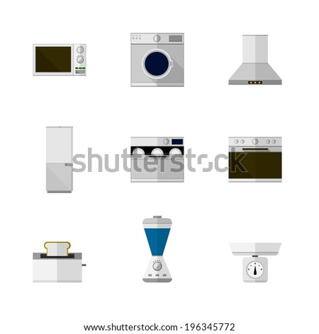 Flat icons for home equipment. Set of nine flat icons with white and colored equipment for home on white background. - stock photo