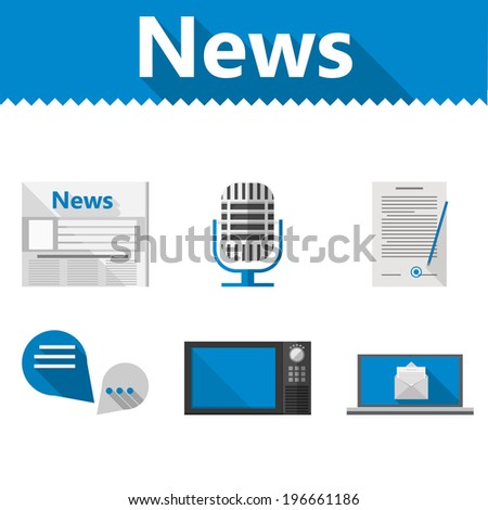 Flat icons for news. Set of icons with blue and gray elements for news on white background. - stock photo