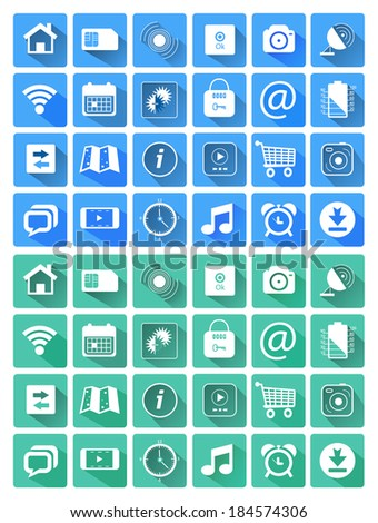 Flat icons for web and mobile applications. Raster version - stock photo