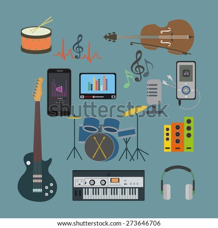 Flat icons music set. Musical instruments. Flat design - stock photo