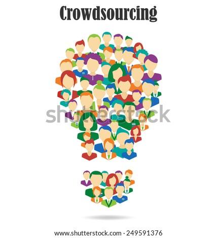 Flat Idea lamp symbolize crowdsourcing process isolated on white background - stock photo