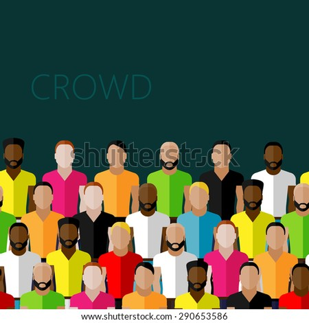 flat illustration of a large group of men. fitness community