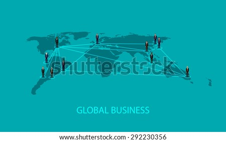 flat illustration of business people standing on the world global map shape. infographic global business cooperation concept. - stock photo