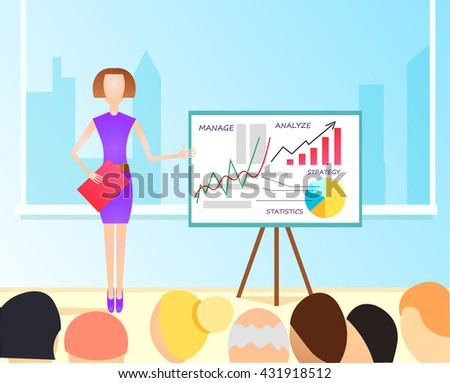 Flat  Illustration of business woman making a presentation with the use of a white board showing pie-charts and graphs. Standup meeting with project team and manager.  - stock photo