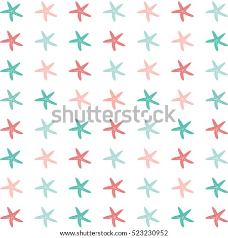 Flat illustration of colorful starfish on a white background./Starfish Pattern