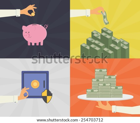 flat illustrations set of money savings, bank deposit, and safe protection - stock photo