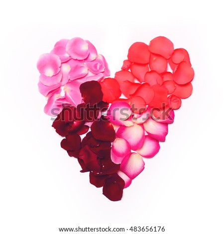 Flat lay - Heart made of rose petals on white background