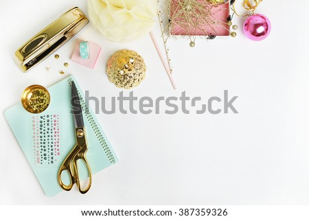 Flat lay. Mock-up product view table gold accessories. stationery supplies. glamour style. Gold stapler. polka gold. Header website or Hero website. Workspace. Home office - stock photo