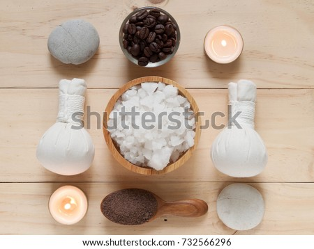 flat lay view of Coffee powder and salt scrub, spa and massage objects, wellness and relaxation concept in top view