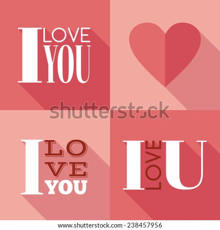 "Flat lettering ""I love you"". Raster version - stock photo"