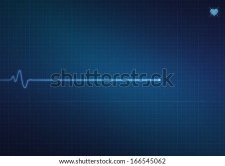 Flat-line blip on a medical heart monitor EKG (electrocardiogram) with blue background and heart symbol. - stock photo