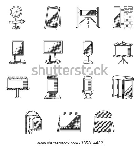 Flat line icons for outdoor advertising and promotion. Billboards, signs, advertising on bus stops and other sites for business and website - stock photo