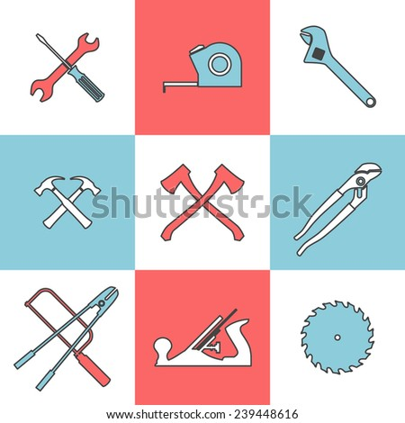 Flat line icons set of handtools axe saw hummer pliers wrench. Flat design style modern illustration - stock photo