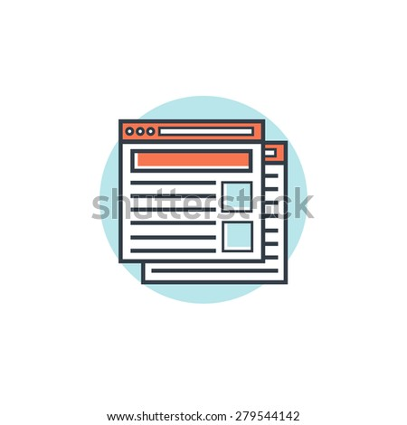 Flat lined web browser windows icon. Internet surfing. - stock photo