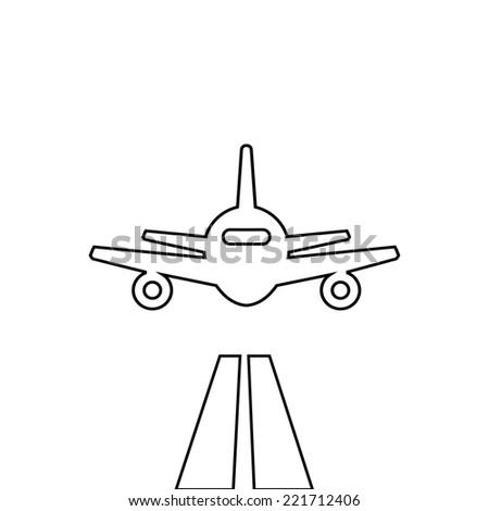 Flat lines plane illustration landing aircraft icon - stock photo