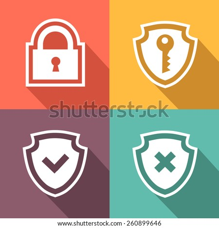 Flat mdern Computer security icons.  illustration - stock photo