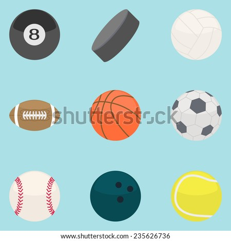Flat modern design concept of sports Equipment. Icon collection