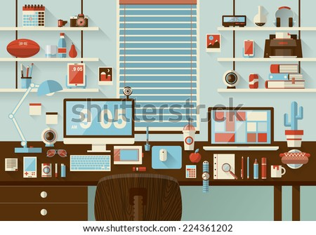 Flat modern design illustration concept of office workspace, workplace, desktop. Business work flow items, essentials, things, equipment, elements, objects, development tools. Room interior - stock photo
