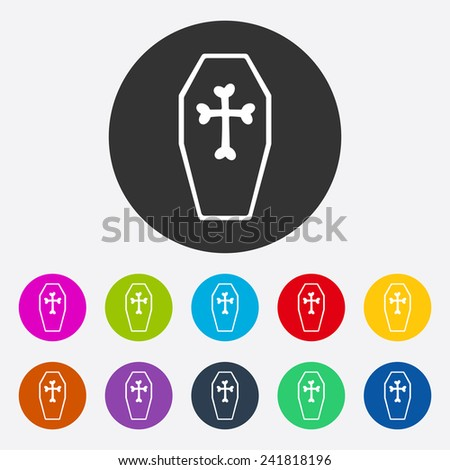 Flat modern design with shadow coffin - stock photo