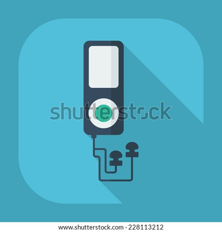 Flat modern design with shadow icons for web design and mobile applications, SEO. search Working Optimization: mp3 player - stock photo