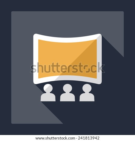Flat modern design with shadow ticket to the cinema - stock photo