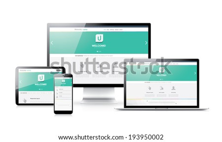 Flat modern responsive web design in electronic devices - stock photo