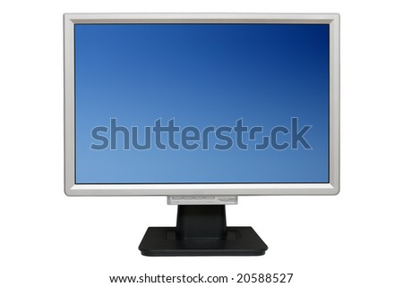 Flat monitor isolated with clipping paths - stock photo
