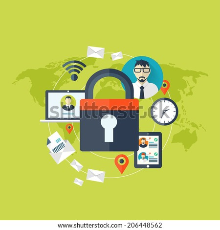Flat padlock icon. Data protection concept. Social network security - stock photo