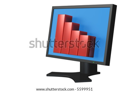 Flat panel computer display with bar chart isolated over a white background. - stock photo