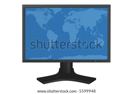 Flat panel computer display with world map background image isolated over a white background. Map comes from NASA Blue Marble data. - stock photo