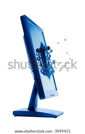 Flat panel lcd computer monitor - stock photo