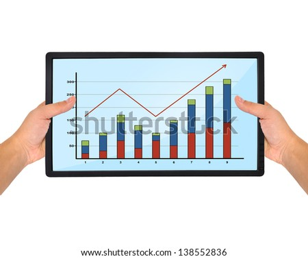 flat panel with chart in hand on a white background
