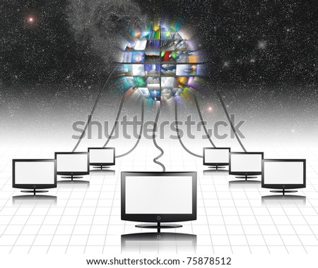 Flat panels video - stock photo