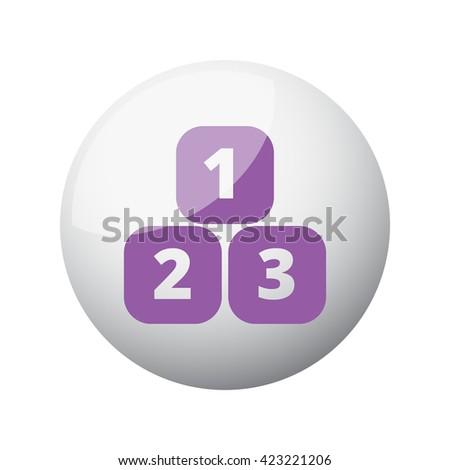 Flat purple 123 Blocks icon on 3d sphere - stock photo