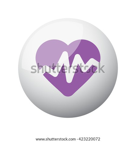 Flat purple Heart Rate Pulse icon on 3d sphere - stock photo