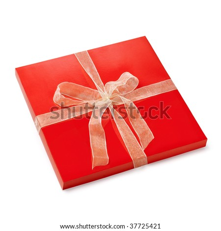 Flat red box. Gift set with a nice lashing bow