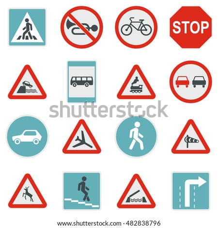 Flat road sign icons set. Universal road sign icons to use for web and mobile UI, set of basic road sign elements isolated  illustration