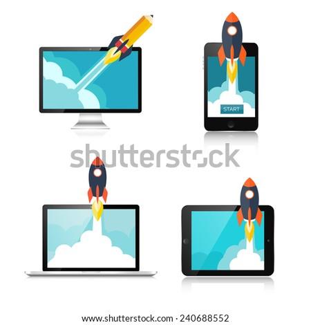Flat rocket icon. Startup concept. Project development. - stock photo