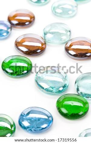 Flat Round Crystal Glass Beads - stock photo