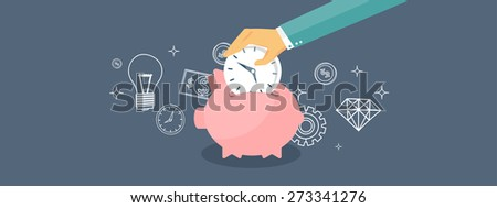 Flat saving money concept background. Piggy bank and coins. - stock photo