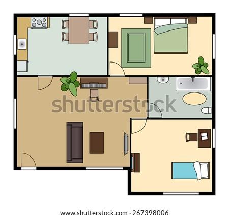 flat scheme with furniture - stock photo