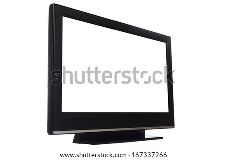 flat screen tv isolated on white background - stock photo